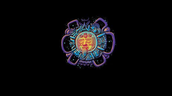 Обои Знак майя в виде лица с высунутым языком и календарем на черном фоне