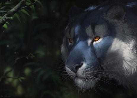Обои Голубой тигр на фоне зеленой листвы, by LhuneArt