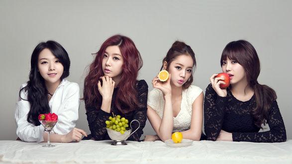 Обои Девушки из группы Girls Day сидят за столом, k-pop, Южная Корея