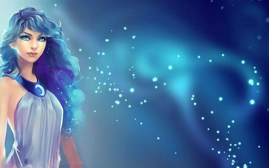 Обои Princess Luna / Принцесса Луна в виде девушки, персонаж из мультсериала Мой маленький пони: Дружба - это чудо / My Little Pony: Friendship Is Magic