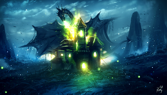 Обои Дракон атакует замок, by ryky