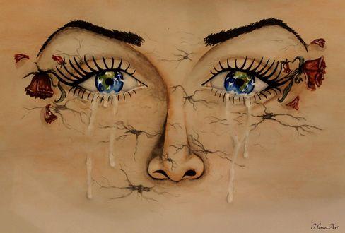 Обои Глаза девушки со слезами, by Henu96