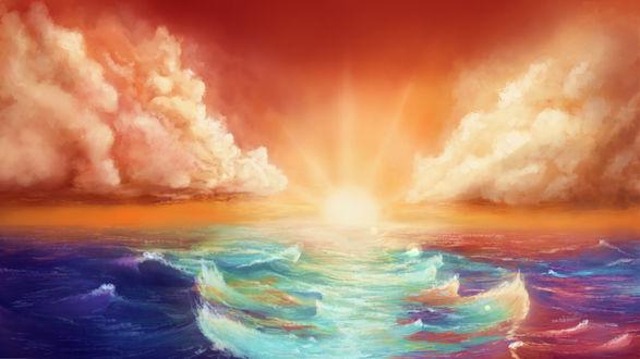 Обои Солнце на закате над морем, by BelzeebosS