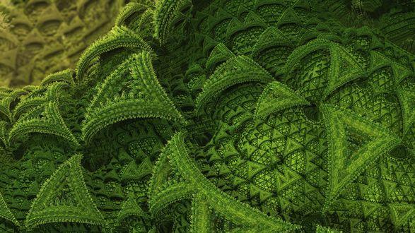 Обои Абстрактные зеленые треугольники с ворсинками