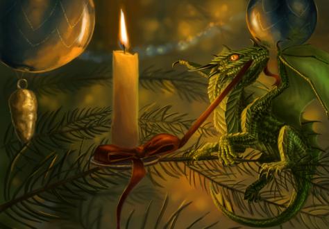 Обои Дракончик сидит на елке у свечи, by x-Celebril-x