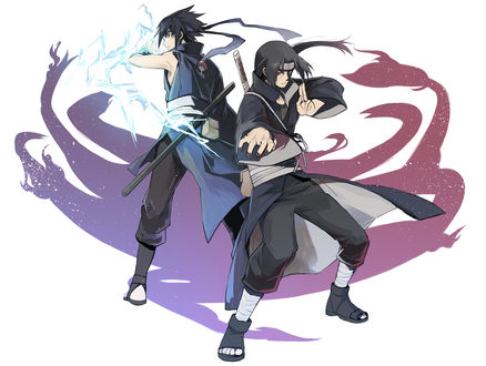 Обои Uchiha Sasuke / Учиха Саске и Uchiha Itachi / Учиха Итачи стоят спина к спине из аниме Наруто / Naruto
