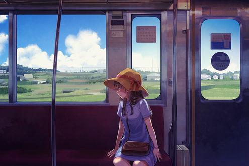 Обои Девушка в автобусе, by 鈴原センチ@仕事募集中