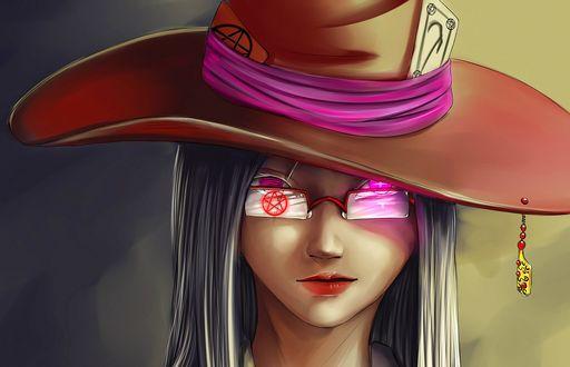 Обои Девушка колдунья с горящими красными глазами, в шляпе с картами, в очках с пентаграммой
