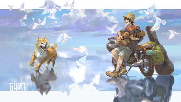 Обои Парень с гитарой стоит у мотоцикла и поодаль от него рыжий пес, by Shengyi Sun