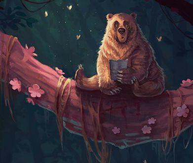 Обои Медведь сидит на дереве