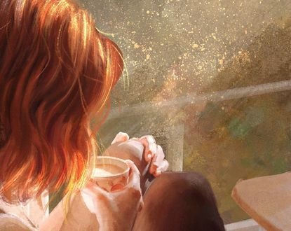 Обои Девушка с чашкой кофе, by Mandy Jurgens