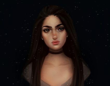 Обои Портрет девушки на черном фоне, by Mary Gomes