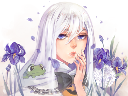 Обои Голубоглазая девушка с лягушкой и цветами ирисов, by fuwaffy