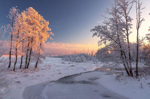 Обои Заснеженные деревья, стоящие на берегу маленькой обледеневшей речки, на фоне розаватого зимнего заката
