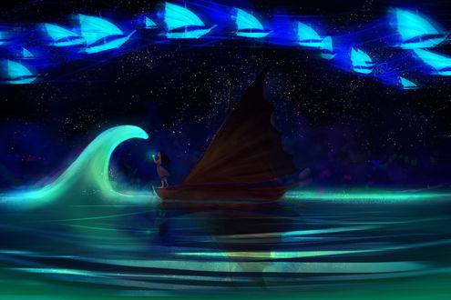Обои Девушка Moana стоит на кораблике, by anndr