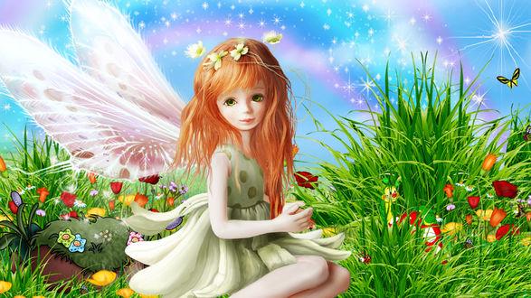 Обои Маленькая фея на волшебной полянке