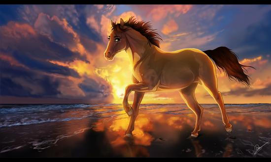 Обои Лошадь на фоне заката, by Vaynese
