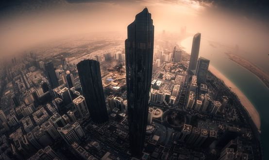 Обои Объемное фото города Абу-Даби / Abu Dhabi, Объединенные Арабские Эмираты, с высоты птичьего полета