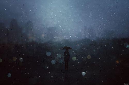 Обои Девушка с зонтом стоит на фоне города, by Baxia Art