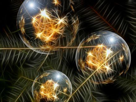 Обои Три новогодних шара