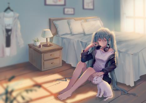 Обои Vocaloid Hatsune Miku / Вокалоид Хатсунэ Мику гладит белого кота, сидя на полу возле кровати, by 雨陌