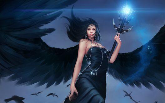 Обои Девушка с черными крыльями парит в небе с магическим посохом в руке