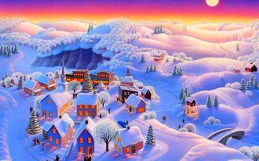 Обои Сказочный зимний городок с красивым пейзажем
