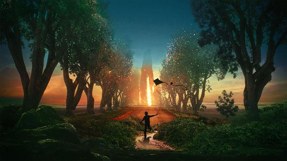Обои Мальчик с воздушным змеем на фоне солнечного зарева, by t1naart