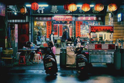 Обои Люди в закусочной Тайбэя, Тайвань