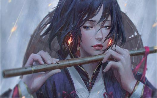 Обои Девушка держит в руках флейту, by GUWEIZ