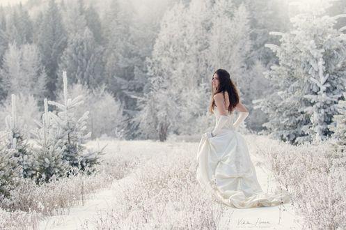 Девушка зима в платье