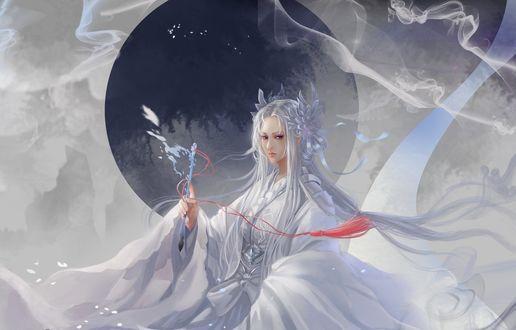 Обои Девушка в белом кимоно держит в руке магический предмет