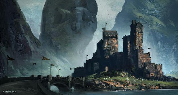 Обои Каменный мост, ведущий к старинному Шотландскому замку, что расположился между гор и скалой, by andreasrocha