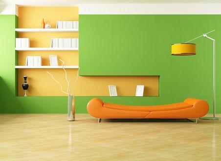 Обои Яркий дизайн комнаты в оранжево-зеленом цвете