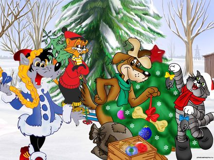 Обои Персонажи из советских мультфильмов все вместе наряжают новогоднюю елку