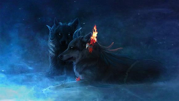 Обои Два волка с огнем, на одном из них, by nettlebird