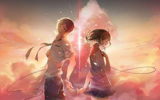 Обои Taki Tachibana / Тачибана Таки и Miyamizu Mitsuha / Миямизу Митсуха, связанные красной нитью, из аниме Kimi no Na wa / Твое имя, art by Makoto Shinkai