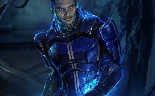 Обои Капитан-лейтенант Кайден Аленко / Kaidan Alenko - самый непопулярный персонаж игры (Mass Effect 3)