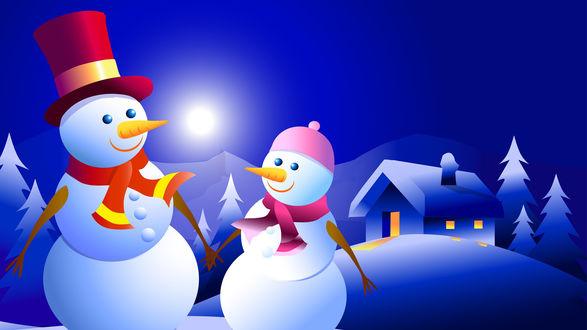 Обои Два снеговика на фоне дома