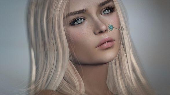 Обои Портрет девушки с пирсингом в носу