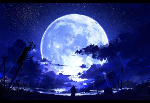 Обои Девушка стоит на фоне полной луны, by ombobon