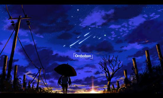 Обои Девушка стоит с зонтом на дороге, by ombobon