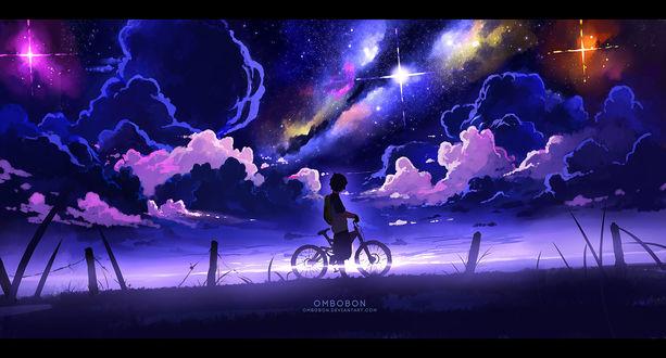 Обои Парень с велосипедом смотрит на облачное звездное небо, by ombobon