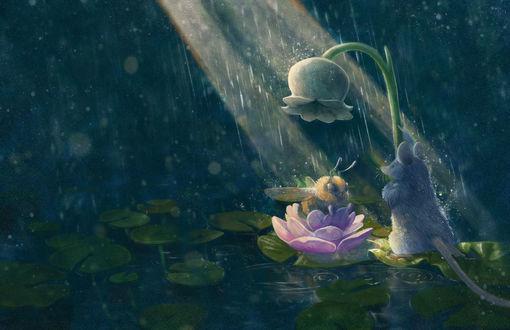 Обои Мыша с цветком стоит перед насекомым, by chutkat