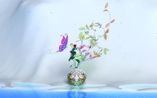 Обои Бабочка над экибаной в вазе