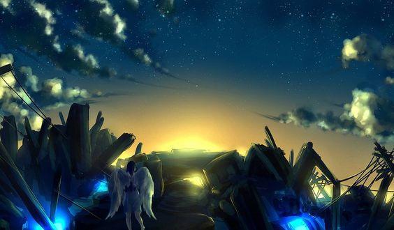 Обои Ангел с белыми крыльями идет по фантастической местности, by xseerx