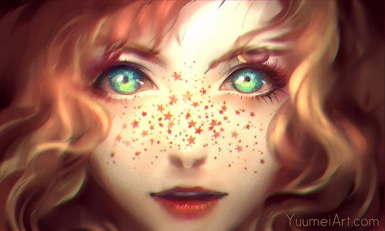 Обои Рыжеволосая зеленоглазая девушка с веснушками на лице, в виде звездочек, by yuumei