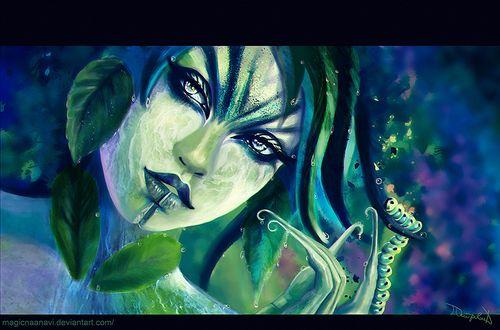 Обои Сильвари / Sylvari -загадочная молодая, любознательная девушка из расы ботанических гуманоидов, рожденных Бледным древом / Pale Tree в Древесной бухте / Arbor Bay, компьютерная игра Guild Wars 2, by magicnaanavi