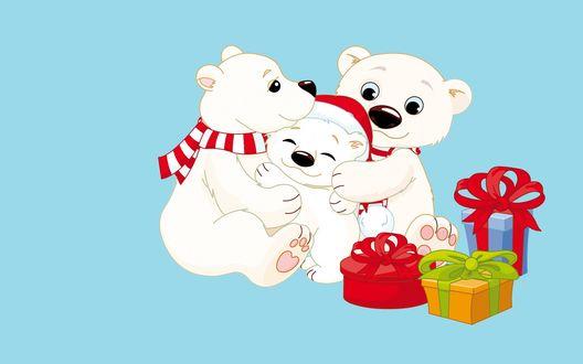 Обои Белые медведи сидят среди подарков