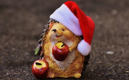 Обои Фигурка ежика с яблоками в новогодней шапочке